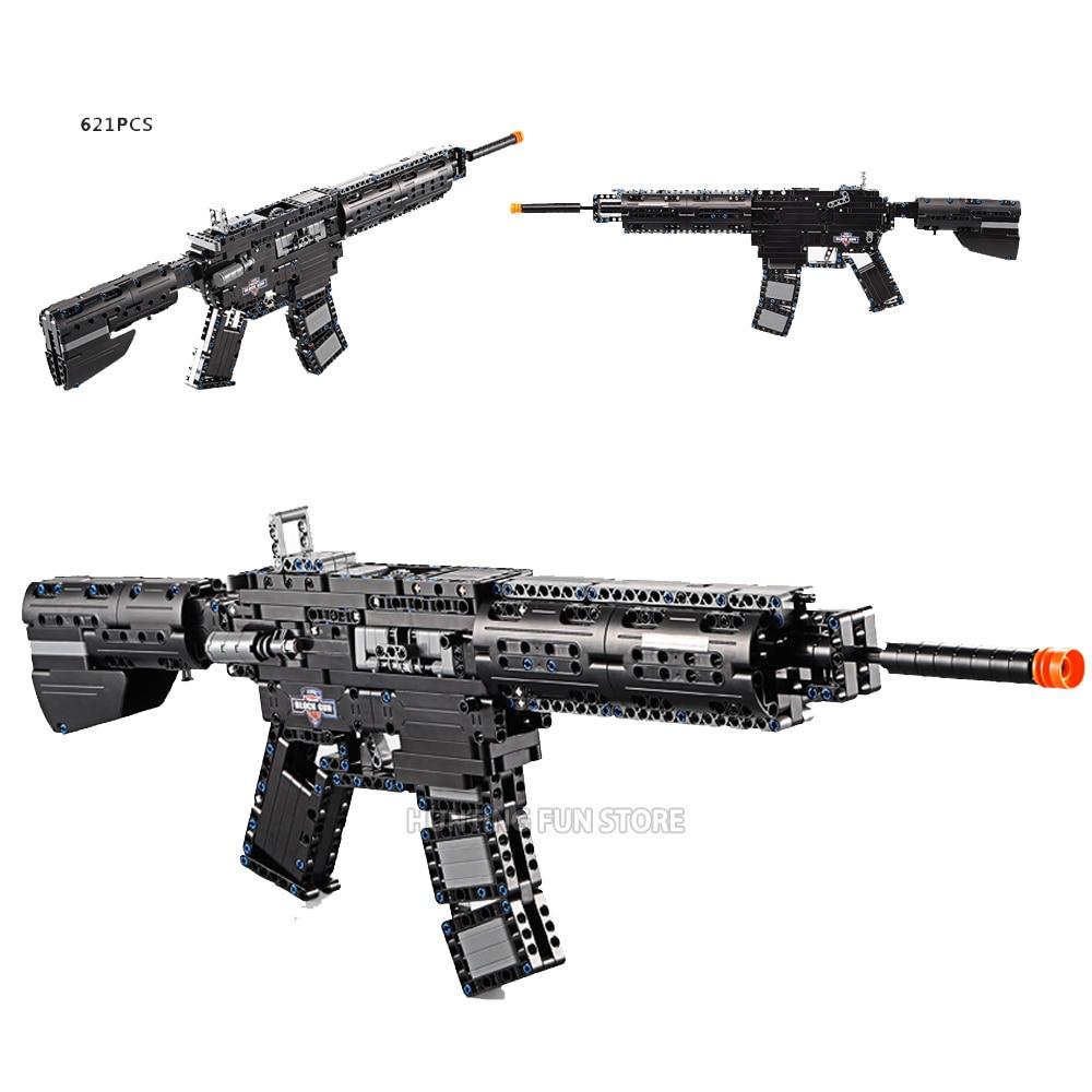CADA 621 Uds. Militar M4A1, Carbine Rubberband Gun, bloques de construcción en miniatura, bloques de ensamblaje, juguetes para niños, conjuntos de Series Técnicas de regalo