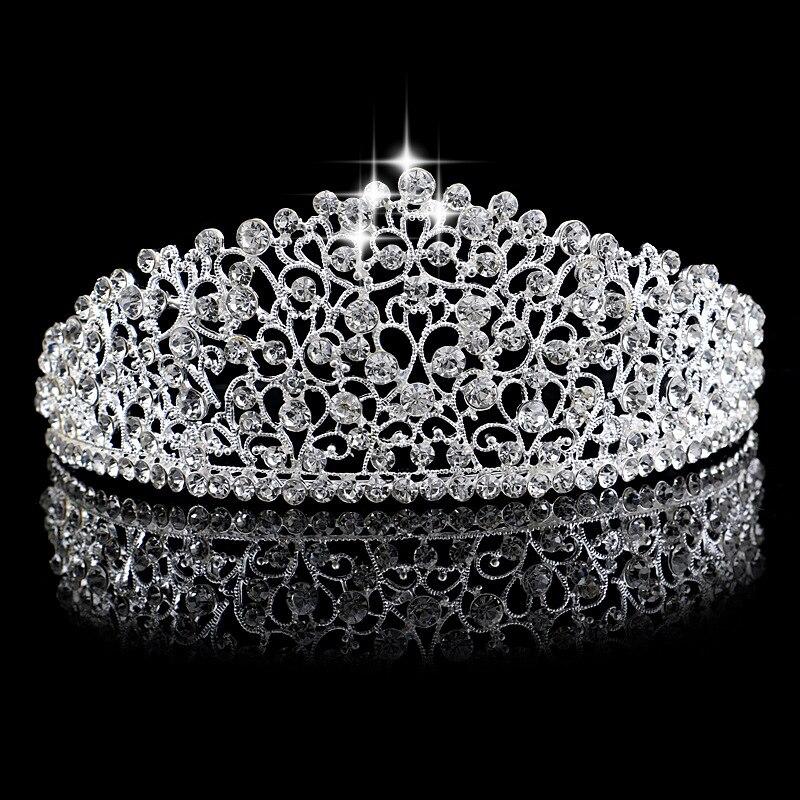Prachtige Zilveren Kleur Grote Bruiloft Diamante Pageant Tiara Haarband Crystal Bruids Kronen Voor Bruiden Haar Sieraden Hoofddeksel