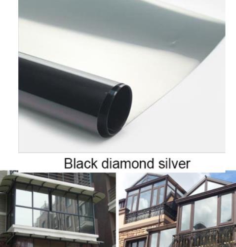 Película de ventana impermeable de color negro plata con diamantes, pegatinas de aislamiento de un solo sentido para espejos plateados, películas de protección UV de rechazo de privacidad y tinte de ventanilla