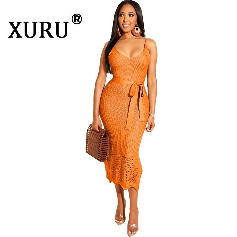 XURU 2019 autumn new women's knit dress sexy bright color knit hook flower strap dress hollow backless pencil dress
