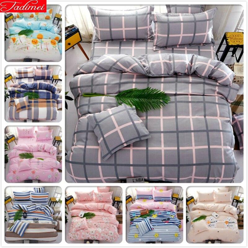 Gris Rosa Plaid Kids Bedlinens 3/4 juego de cama Aole algodón King Queen doble tamaño Duvet Cover 1,5 m 1,8 m 2,0 m Ropa de cama