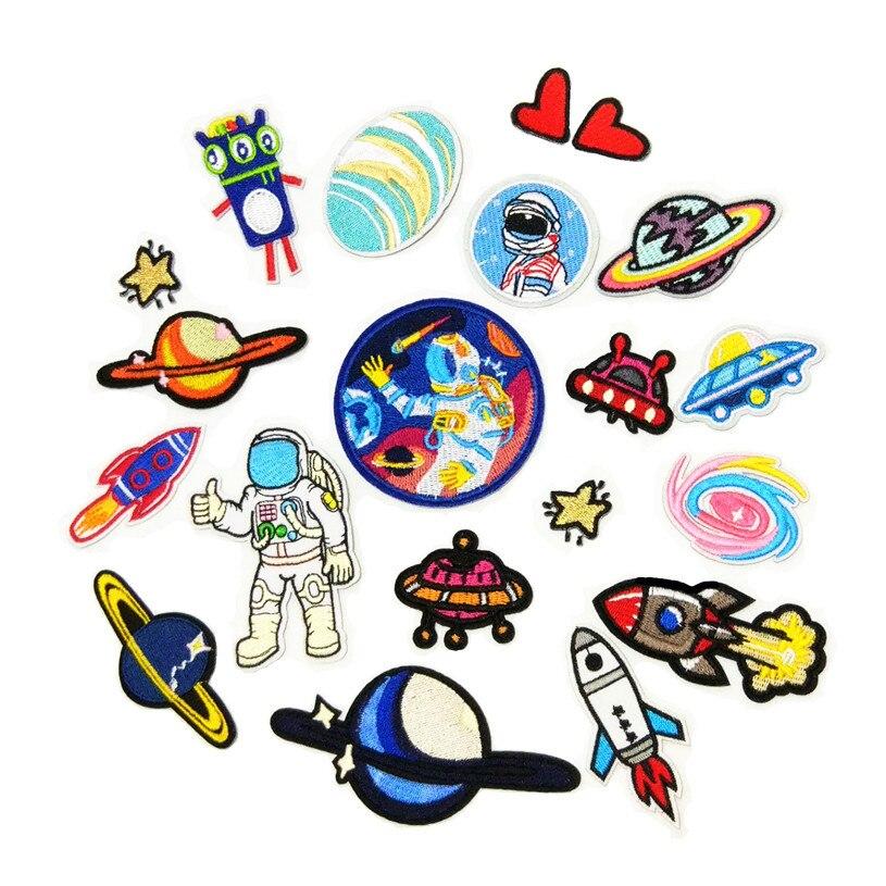 Parches bordados para ropa astronauta Rocket Star Wars parche Logo Iron on parches corazón adhesivos para ropa UFO marca parche