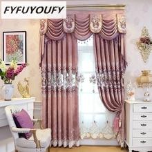 FYFUYOUFY High-grade bordados florais tule cortinas para sala de estar quarto cortinas soft charpie blackout cortina para janela