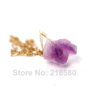H-QN114 Amethysts Cluster Stalactite Charm Necklace with Gold Chain Free Form Wire Wrapped Crystal Quartz Pendant Necklace