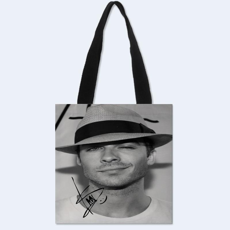 Custom Ian Somerhalder printing shoulder bag canvas tote bag shopping travel bags book handbag custom logo