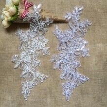 Robe de mariée brodée à paillettes   1 paire, bordure en appliqué en dentelle à coudre décorative de mariage, artisanat pour accessoires de vêtement T46