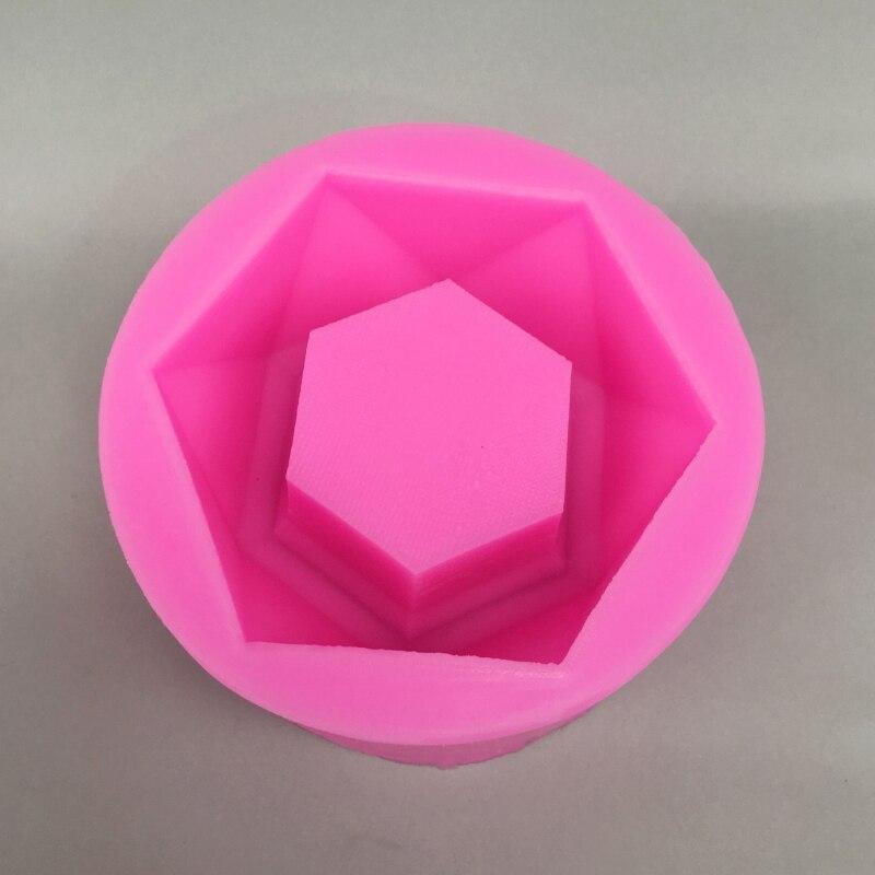 Superficie en forma de diamante portavelas molde flor Gypsum Pot molde de silicona para manualidades forma para hacer velas herramienta de jabón