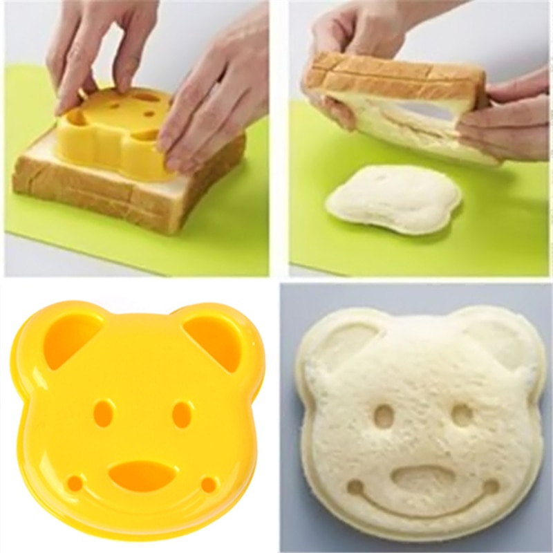 Produto comestível plástico bonito diy urso sanduíche molde torradas pão selo molde cortador ferramenta kit fondant bakeware p0.35