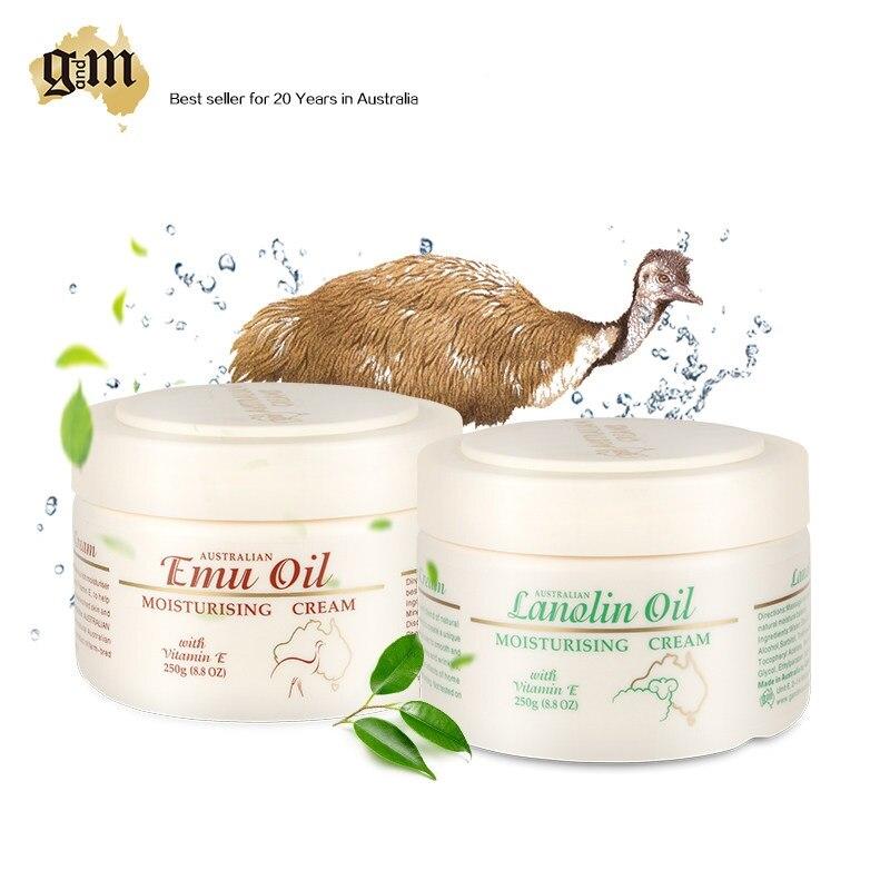 Crema de aceite de Seat Emu de Australia GM + crema de día de lanolina para hidratar la piel seca, propiedades curativas líneas finas y arrugas