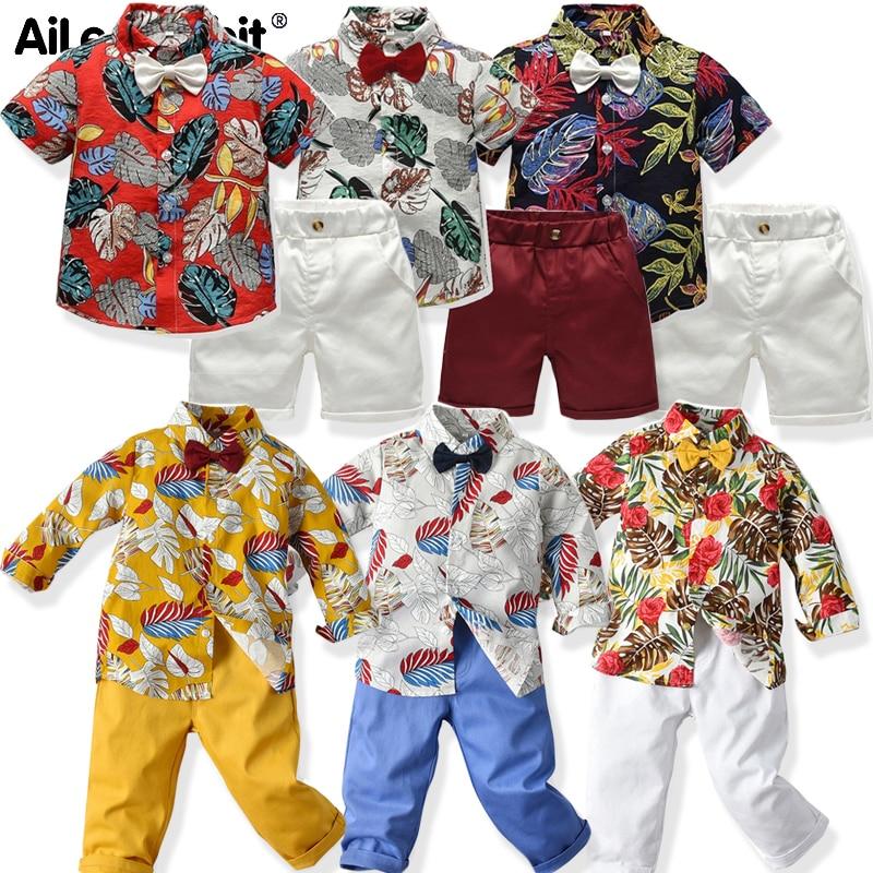 AiLe Rabbit/летние детские хлопковые костюмы для мальчиков, футболка + штаны, комплект из 2 предметов, Детские Полосатые шорты с короткими рукавам...