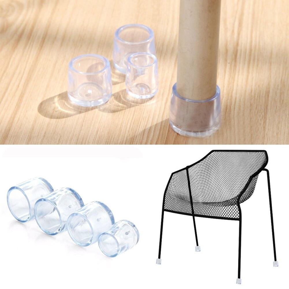 8 unids/set transparente PVC redondo gorros de pierna de silla pies almohadillas cubiertas de muebles para mesas protectores de suelo de madera silla pierna Protector