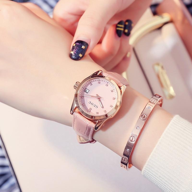 2019 GUOU Fashion Golden Ladies Watch Women Leather Wrist Watches Diamond Gold Clock Saat Relogio Feminino bayan kol saati Hot enlarge