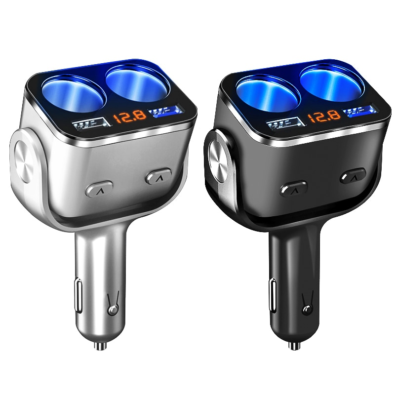Mechero de coche 12 V-24 V cargador USB QC 3,0 carga rápida Auto divisor voltaje pantalla interruptor independiente rotación de 180 grados
