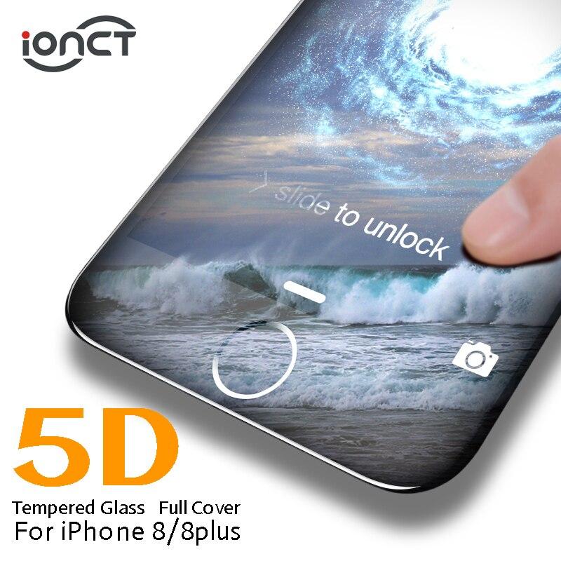 IONCT 5D borde curvado funda completa templada cristal para iPhone 8 Protector de pantalla dureza 9H iPhone 8 vidrio 8 plus película HD