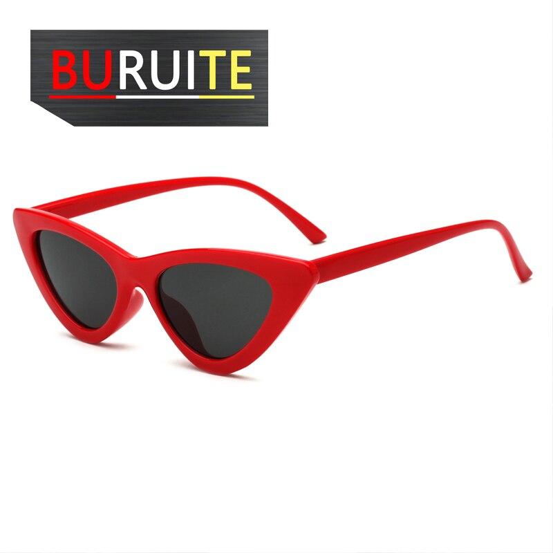 Cute Sexy Retro Cat Eye Sunglasses Women Small Black White  Triangle Vintage Cheap Sun Glasses Red F