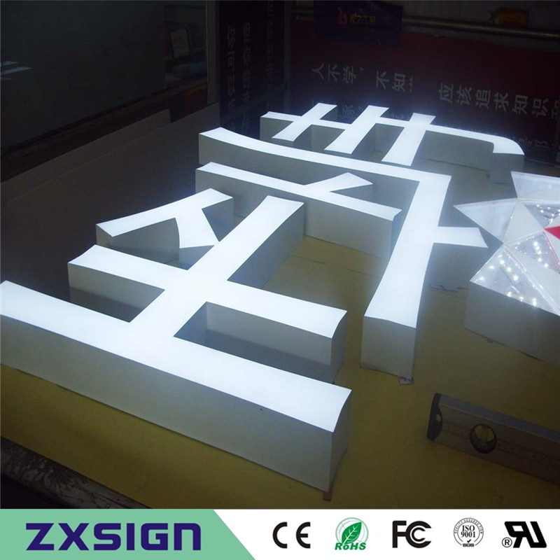 Factory Outlet Outdoor Brightest resin inside stainless steel side & back led illuminated letters for store advertising sign
