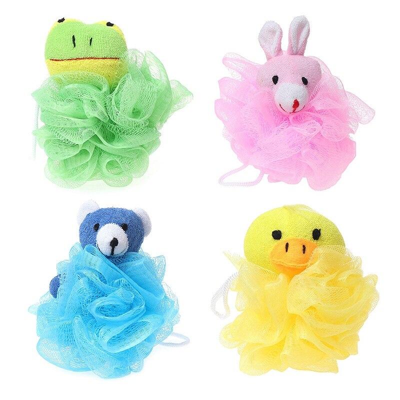 Cojín de juguete para niños, malla Puff con relleno de animales (4 paquetes), Rana, pato, conejo, oso