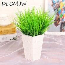 Plantas artificiales hierba verde planta de hierba Artificial de plástico decoración de escritorio hierba para decoración de jardín al aire libre plantas falsas hierba
