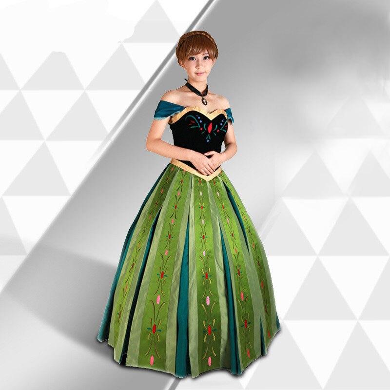 Платье для косплея Анны, для взрослых, с вышивкой в виде героев мультфильма «Холодное сердце», для женщин, JQ-1366, бесплатная доставка
