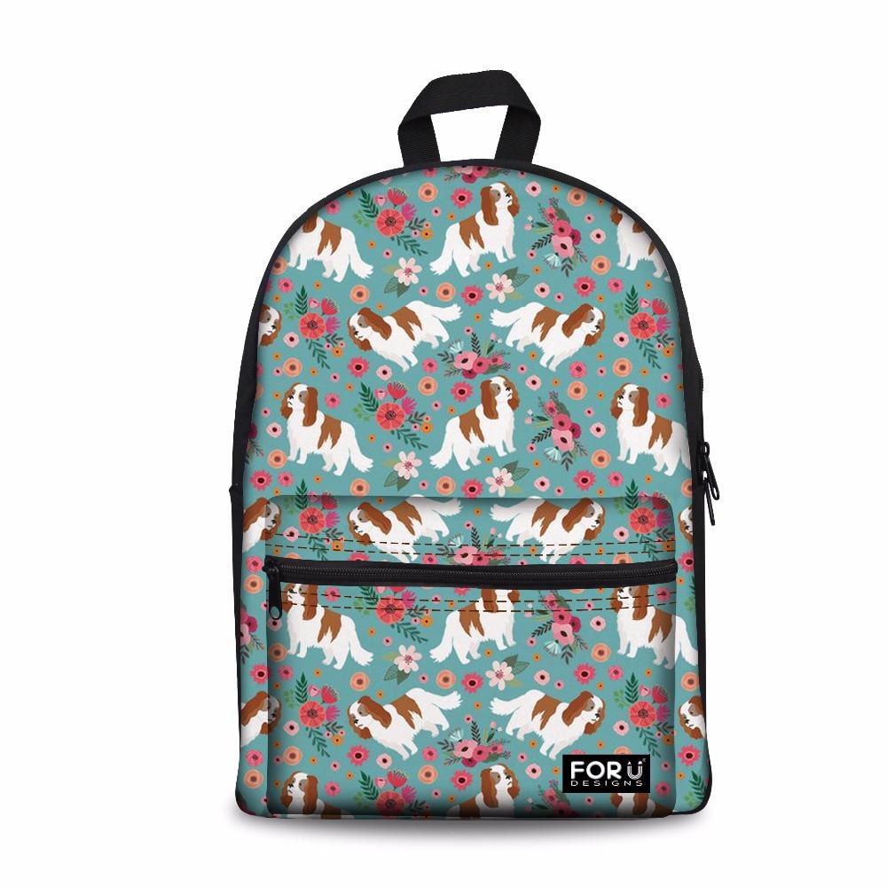 Mochila escolar personalizada para niñas Cavalier King Charles, Mochila estampada, Mochila escolar para niños, mochilas escolares