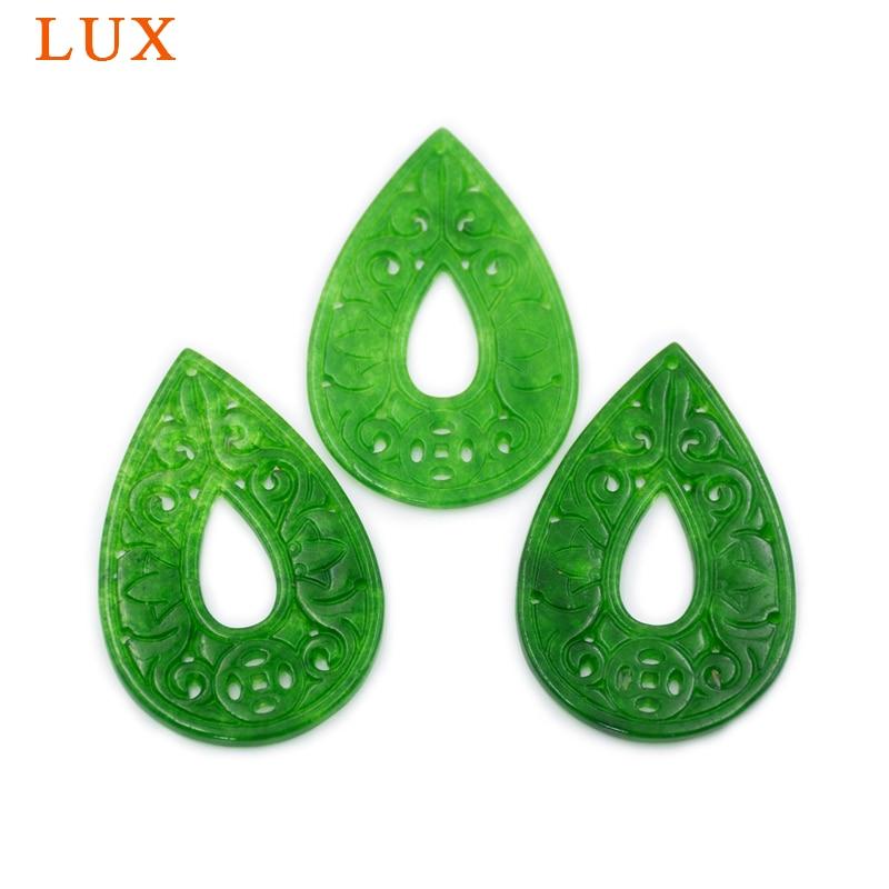 Diseño de moneda en forma de lágrima ahuecado, jade verde tallado, rebanada de jade verde, rebanada de piedra de cristal natural para joyería DIY