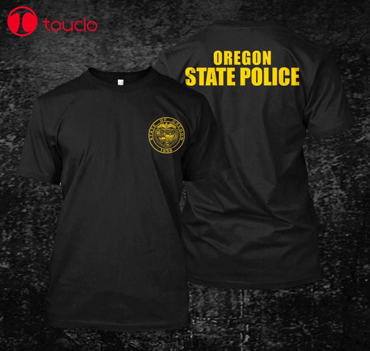 2 Side  Loose Black Men Tshirts Homme Tees Oregon State Police Usa - Custom MenS T-Shirt Tee Print T-Shirt Mens Sweater