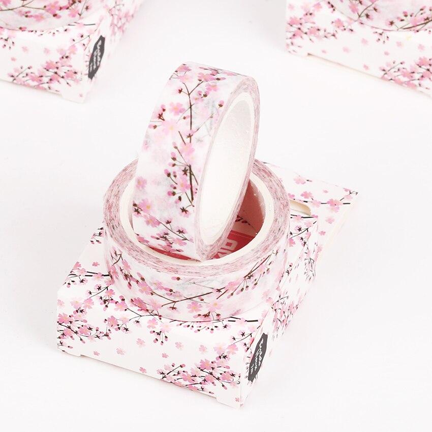 1 unidad, temporada romántica de Japón, cinta Washi DIY de cereza, decoración para álbum de recortes, cinta adhesiva de papel para enmascarar álbum de fotos, suministros de cinta adhesiva para oficina