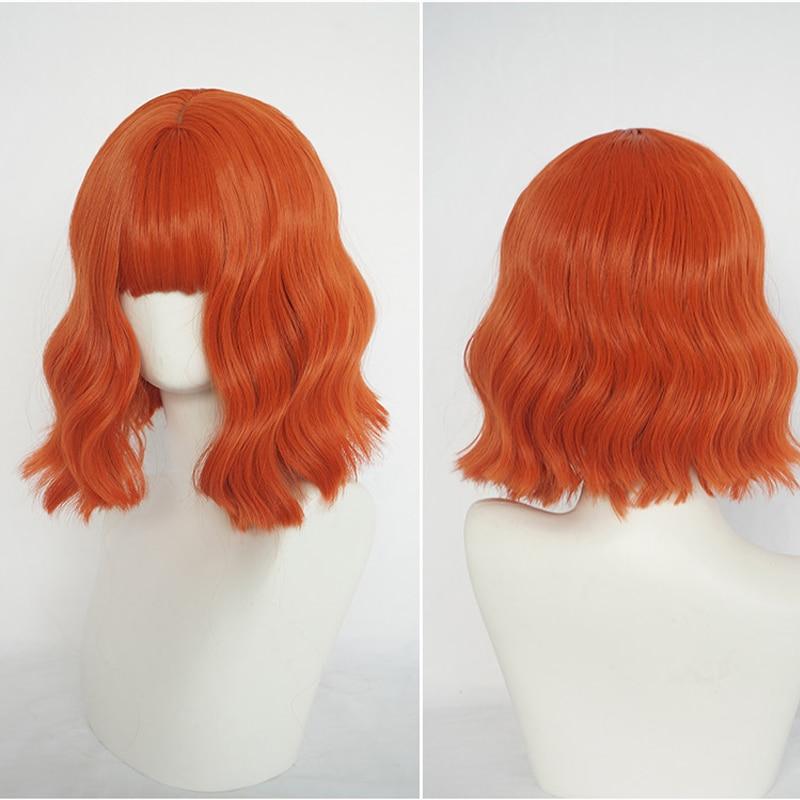 4 colores Harajuku Kawaii naranja Lolita de diario gótico Peluca de pelo corto rizado pelucas de cosplay sintéticas + tapa de la peluca