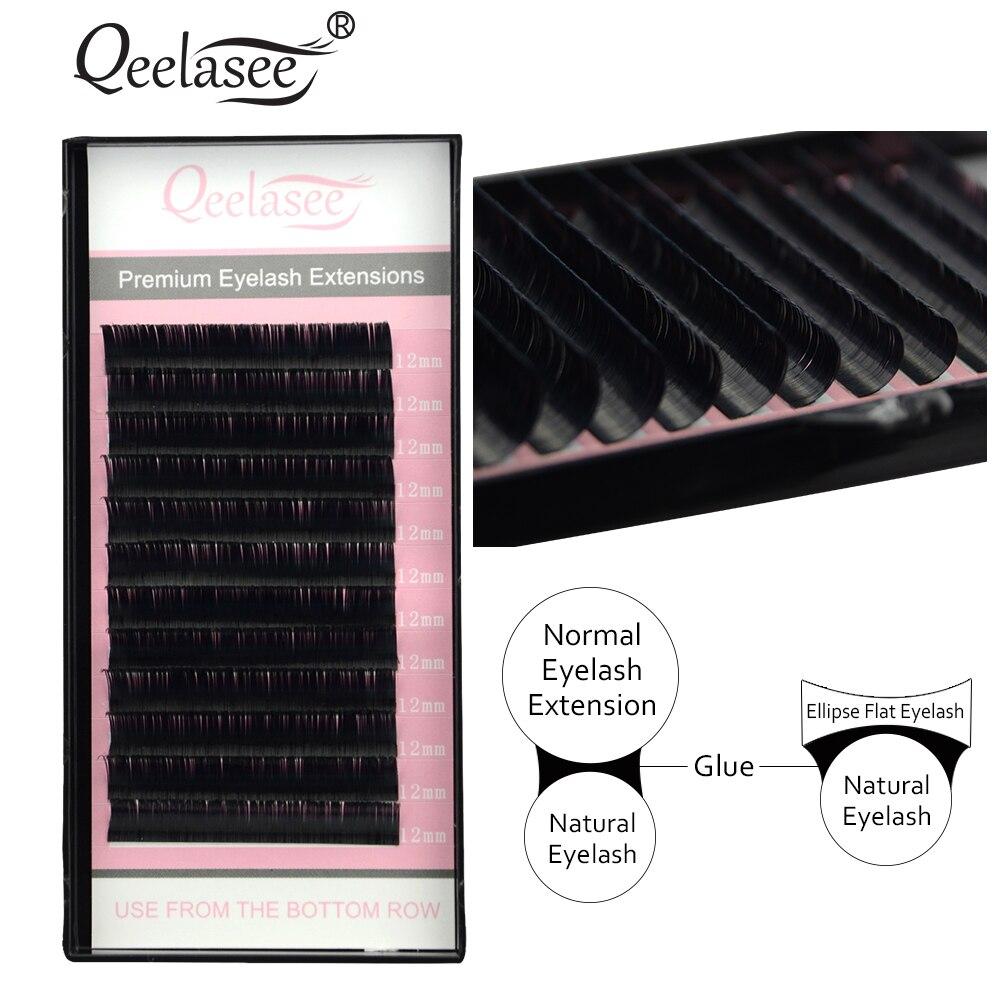 Qeelasee elipse de extensiones de pestañas falsas fino suave punta plana raíces nuevos productos de ahorro de tiempo recomendado por los técnicos