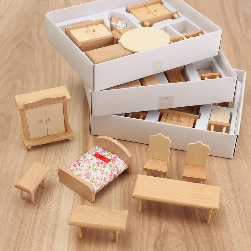 مجموعة أثاث خشبي مصغر ، 29 قطعة/المجموعة/مجموعة ، أثاث خشبي غير مطلي ، مقياس 1/24 ، ألعاب أطفال ، عرض خاص