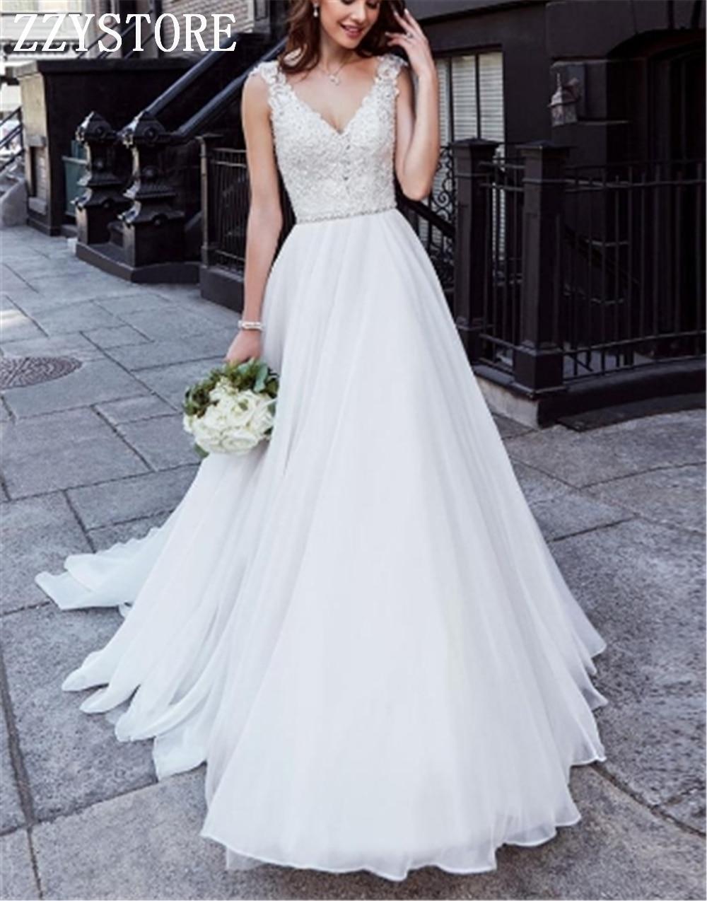 Vestidos De boda sencillos con escote en V profundo, cola De Barre,...