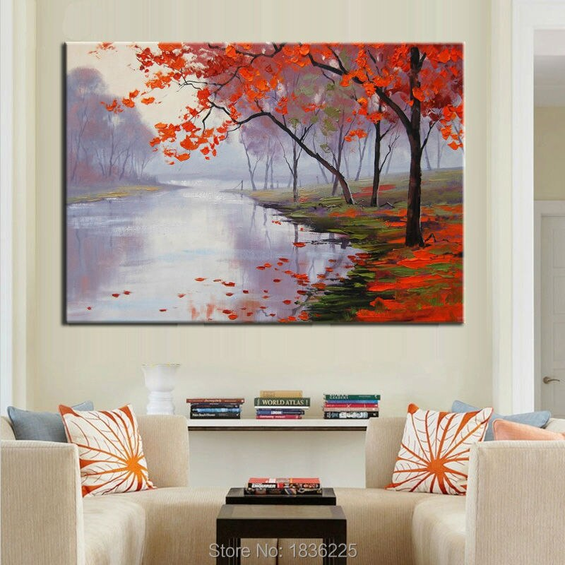 forest modern paintings with a knife tree leaves oil painting on canvas painted canvas decoration of houses interior  wall decor