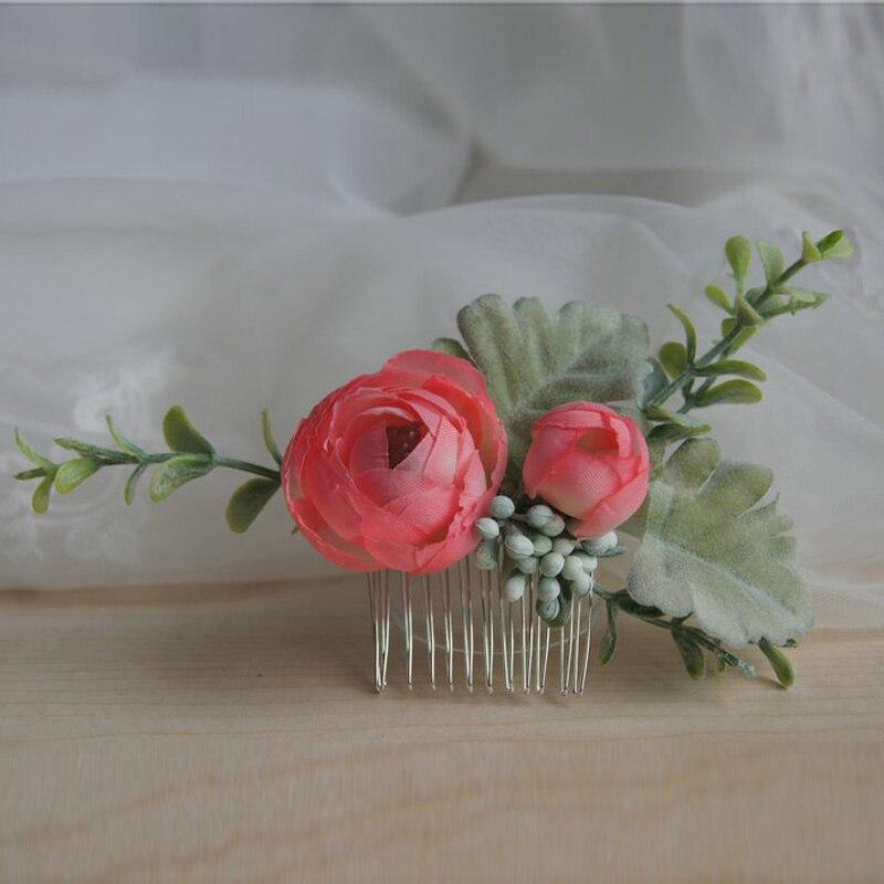 Peineta de flor Rosa verde para novia, accesorios para el cabello de...