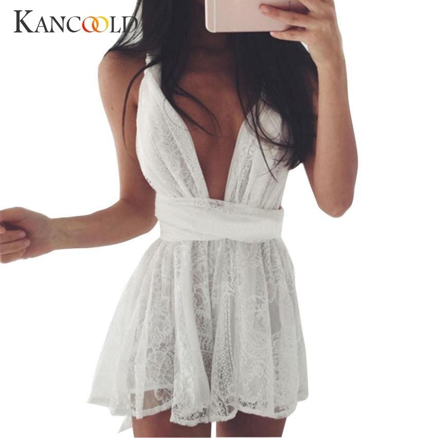 Vestido Sexy de verano ajustado de Chifón con encaje para mujer 2017 espalda descubierta Cross Club Party Mini Ladies vestido blanco con cuello en V profundo Ja052