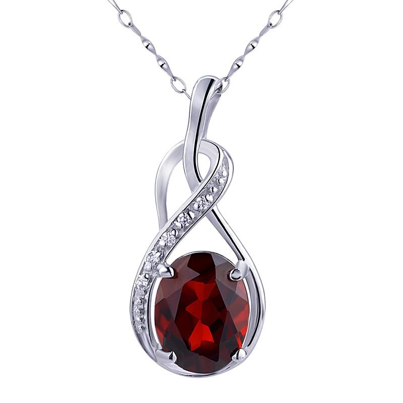 Подвеска из натурального граната, ожерелье из стерлингового серебра 925 пробы, женское, модное, изящное, Элегантные украшения из кристалла, подарок на день рождения, SP0049G