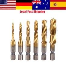 """6 stks/partij M3-M10 Titanium Coated Boor en Tap Bit Draad Metrisch HSS Schroef Tap 1/4 """"Hex Shank Tikken Tool hoge Kwaliteit"""