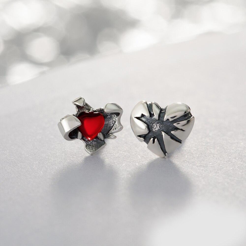 Thaya vermelho quente coração zircon brincos s925 prata dia dos namorados parafuso prisioneiro punk rock estilo senhoras vintage moda jóias para mulher