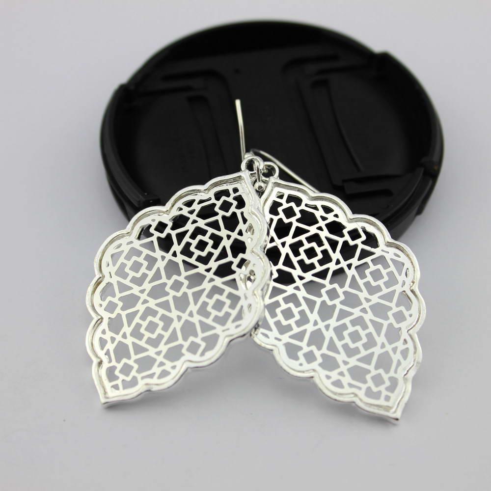 Filigrana marroquino brincos para mulher zwpon moda geométrica quatrefoil declaração oco para fora brincos de ouro para mulher jóias