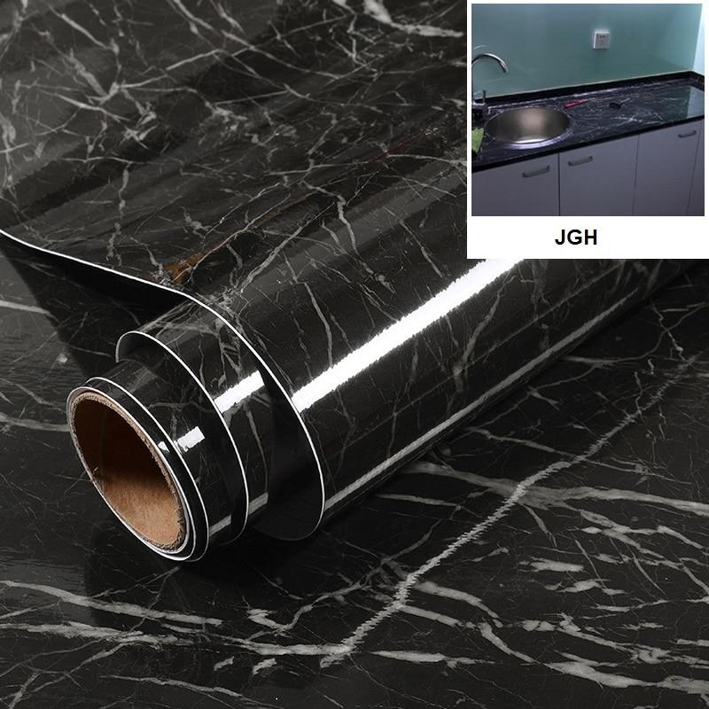 ПВХ водостойкие серые Белые Черные мраморные самоклеящиеся обои для кухни гостиной контактная бумага
