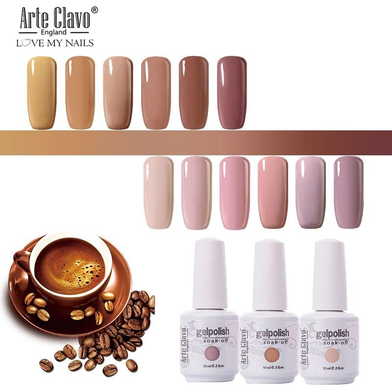 Долгостойкий гель-лак для ногтей Arte Clavo 15 мл, телесные, розовые цвета УФ гель-лак для маникюра, основа для маникюра, полу-постоянный лак