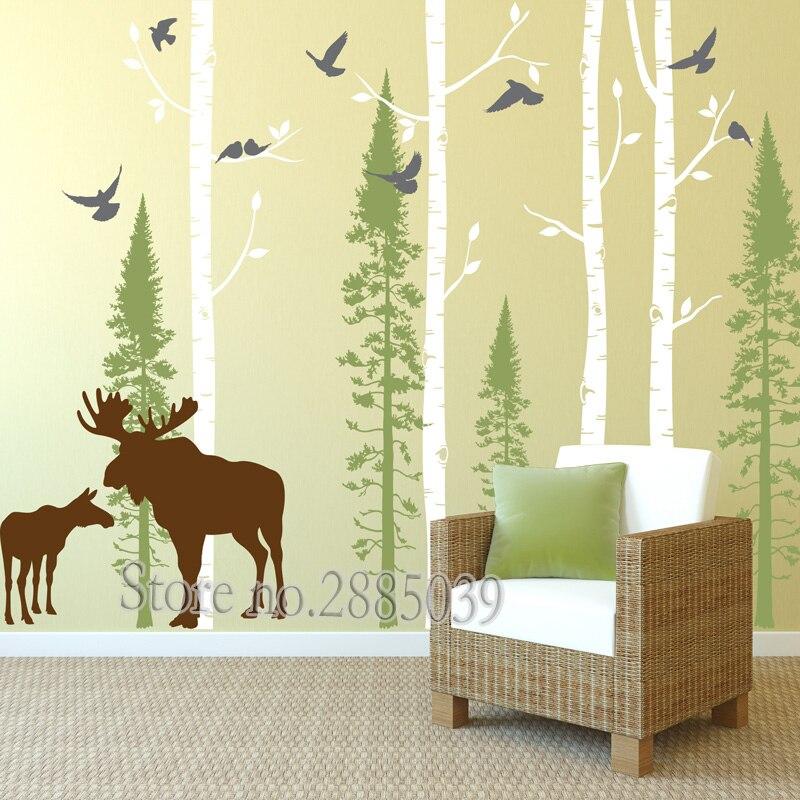 Настенные наклейки на стену с изображением дерева, оленя и березы, наклейки на стену из березы и леса, для гостиной, дивана, фон для декора ст...