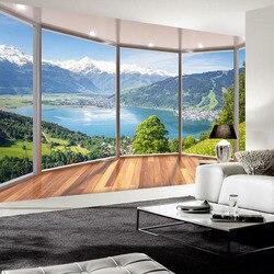Sob encomenda Da Foto Papel De Parede Varanda 3D Forest Lake Espaço Sala de Fundo papel de Parede Mural Moderno Pintura de Parede Wallpapers de Decoração Para Casa