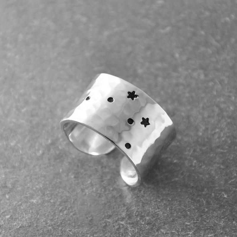 Anillo de constelación Libra, Zodíaco, anillo Libra, Libra regalo de cumpleaños, anillo del zodiaco de banda ancha, anillo del horóscopo, joyería de astrología