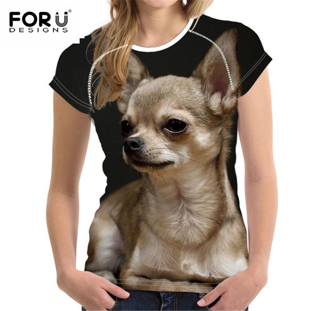 FORUDESIGNS Kawaii Chihuahua, camiseta para mujer, camiseta de verano, camiseta de manga corta con perros, camiseta para mujer, camisetas para niñas