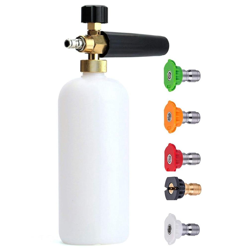 "1/4"" Quick Release Foam Gun Snow Foam Lance Professional Foam Generator Car Washer 5 Pressure Washer Nozzles for Cleaning"