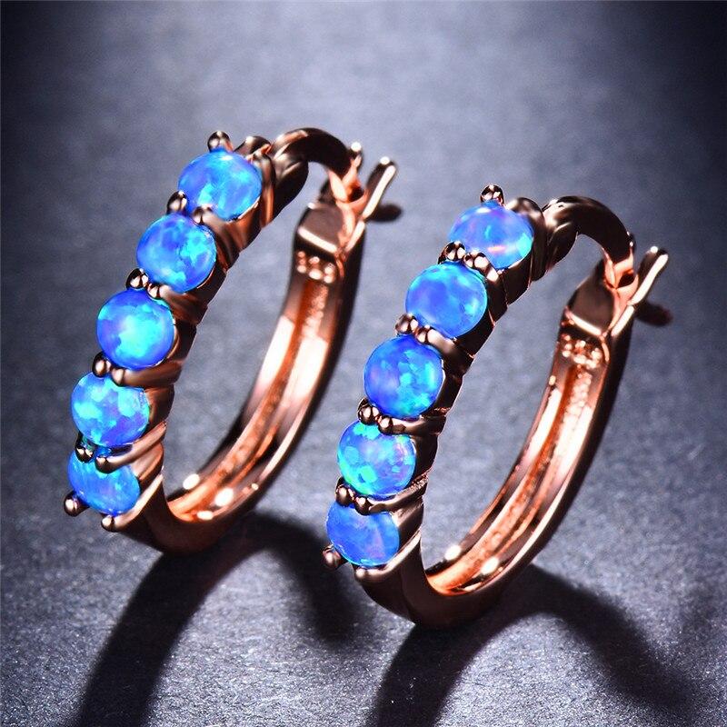 Estábamos Blanco/azul ópalo de fuego pendientes de piedra pendientes para las mujeres de moda de la joyería de Boho accesorios pequeño círculo pendientes