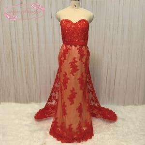 SuperKimJo Vestido Longo Detachable Skirt Evening Dresses 2020 Lace Applique Beaded Red Mermaid Evening Gown Abendkleider