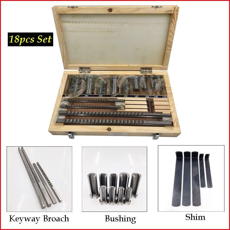 18 pc HSS Métricas Keyway Broach Cutter B C Push Tipo 4 milímetros 5 milímetros 6mm 8mm + 9 pc Bucha Da Luva + 5 pc Calço De Corte Ferramenta De Usinagem
