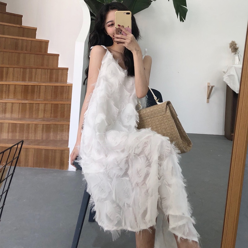 women summer spaghetti strap feather solid long dress bow tie loose pullover chiffon vestidos irregular length vintage dresses