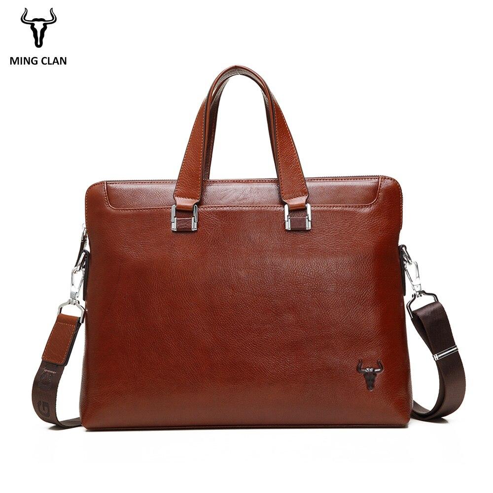 Mingclan Mens Briefcase Notebook Bag Handbag Natural Cowhide Leather Laptop Tote Office Shoulder Bag Business Work Document Bag